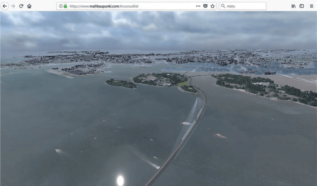 Fig. 14 Easy to use public virtual city model of Helsinki includes the city and the planned